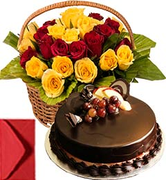 Chocolate Truffle Cake Half Kg with Red Yellow Roses Basket