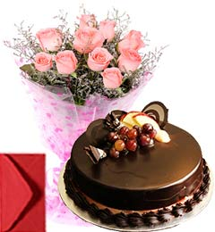 Chocolate Truffle Cake Half Kg with Pink Roses Bouquet n Card