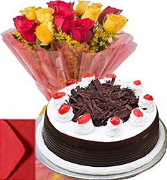 Black Forest Cake Half Kg with Yellow Red Roses Bouquet n Card