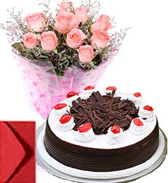 Black Forest Cake Half Kg with Pink Roses Bouquet n Card