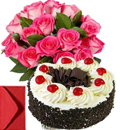 1Kg Black Forest with Pink Roses Bouquet n Greeting Card