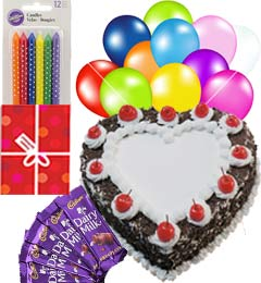 1Kg Heart Shaped Black Forest Cake n Chocolate Gifts Combo