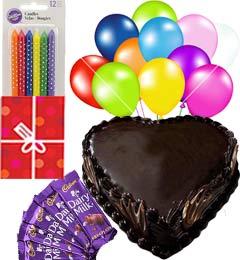 1Kg Heart Shaped Chocolate Truffle Cake n Chocolate Gifts Combo