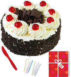 Fresh Half Kg Black Forest Cake Candle Greeting Card