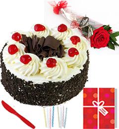 Single Roses Half Kg Black Forest cake Candle Greeting Card