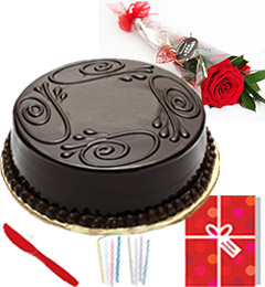 Single Roses Half Kg chocolate cake Candle Greeting Card