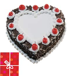 1Kg Black Forest Heart Shape Cake