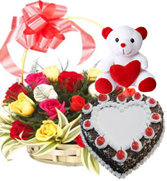 Heart Shape Black Forest Cake 1Kg N Roses Basket Teddy Gifts