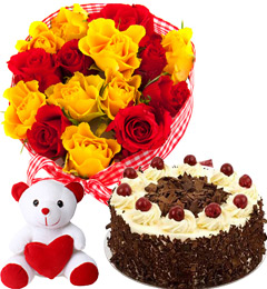 Red Yellow Roses Basket Black Forest Cake Teddy Gifts