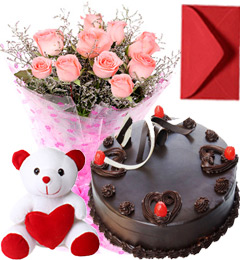 Pink Roses Bouquet Chocolate Cake Teddy