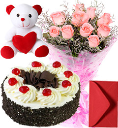Black Forest Cake 1Kg Pink Roses Bouquet Teddy