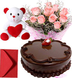 1Kg Chocolate Cake Pink Roses Bouquet Teddy