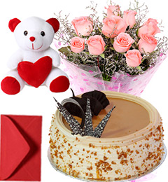 1Kg Butterscotch Cake Pink Roses Bouquet Teddy