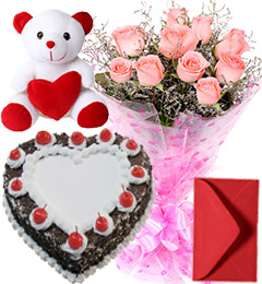 1Kg Heart Shape Black Forest Cake Pink Roses Bouquet Teddy