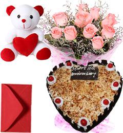 1Kg Heart Shape Butterscotch Cake Pink Roses Bouquet Teddy