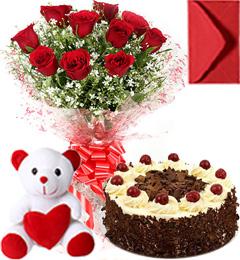 Half Kg Black Forest Cake Roses Bouquet N Teddy