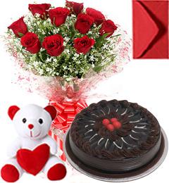 Half Kg Chocolate Traffle Cake Roses Bouquet N Teddy