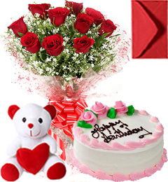 Half Kg Strawberry Cake  Roses Bouquet N Teddy