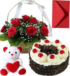 Black Forest Cake Half Kg Roses Basket N Teddy Gifts