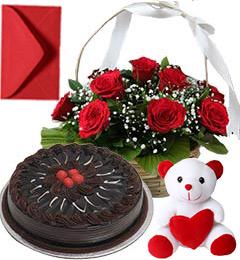 Chocolate Cake Half Kg Roses Basket N Teddy Gifts
