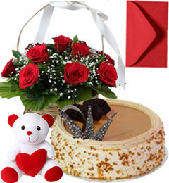 Butterscotch Cake Half Kg Roses Basket N Teddy Gifts