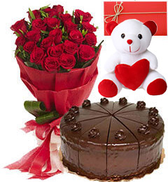 Big Red Rose Bouquet 500gms Black Forest Cake Teddy Card