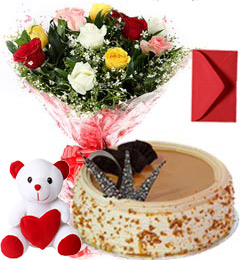 1Kg Butterscotch Cake Mix Roses Bouquet Teddy n Card