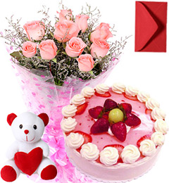 1Kg Strawberry Cake Roses Bouquet Teddy n Card