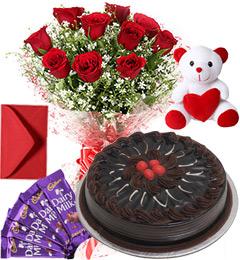 Chocolate Cake Roses Bouquet Teddy N Chocolate