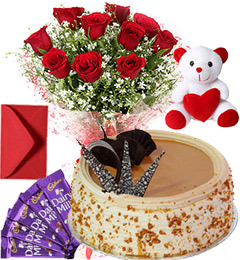Butterscotch Cake Roses Bouquet Teddy N Chocolate