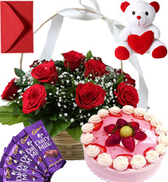 Strawberry Cake Roses Basket Teddy N Chocolate