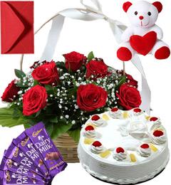 Pineapple Cake Roses Basket Teddy N Chocolate