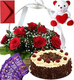 Black Forest Cake Roses Basket Teddy N Chocolate