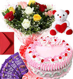 1Kg Strawberry Cake Roses Bouquet Teddy N Chocolate Combo Gift
