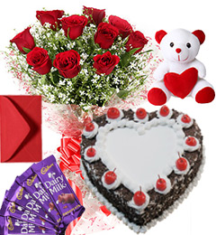 1Kg Heart Shape Black Forest Cake Roses Bouquet Teddy N Chocolate Combo