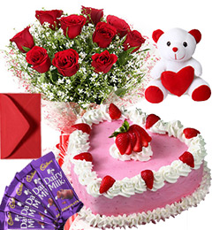 1Kg Heart Shape Strawberry Cake Roses Bouquet Teddy N Chocolate Combo Gift