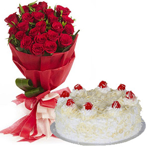 2 kg White Forest Cake Roses Bouquet Gift