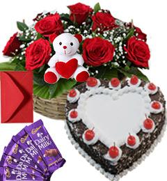 1Kg Heart Black Forest Cake Roses Basket Teddy N Chocolate Combo Gift