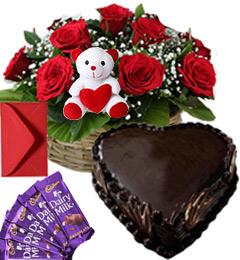 1Kg Heart Chocolate Cake Roses Basket Teddy N Chocolate Combo Gift