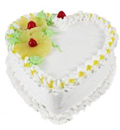 1Kg Eggless Heart Shape Pineapple Cake