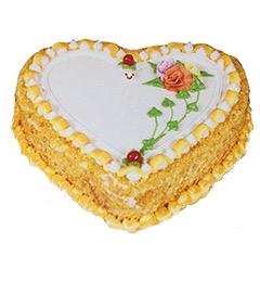 1Kg Eggless Heart Shape Butterscotch Cake