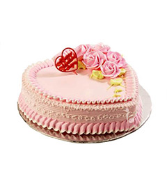 1Kg Eggless Heart Shape Strawberry Cake