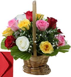 20 Mix Roses Basket