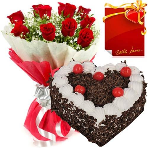 500gms Heart Shape Black Forest Cake 10 Red Roses Bouquet and Greeting Card