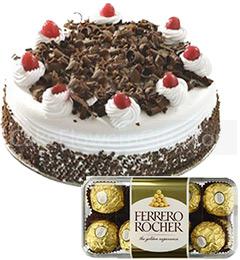 Half Kg Black Forest Cake 16 Ferrero Rocher Chocolate Gift
