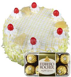 Half Kg Pineapple Cake 16 Ferrero Rocher Chocolate Gift