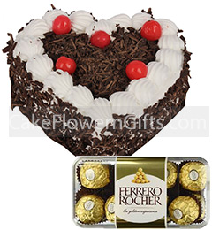 1Kg Heart Shape Black Forest Cake 16 Ferrero Rocher Chocolate Gift