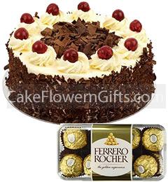 1Kg Black Forest Cake 16 Ferrero Rocher Chocolate Gift