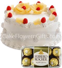 1Kg Pineapple Cake 16 Ferrero Rocher Chocolate Gift