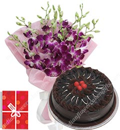 500gms Chocolate Cake n Orchids Bouquet